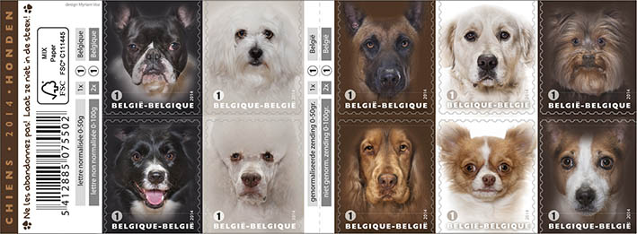 Portraits of the ten most popular dogs, ordered by the Belgian Post Office. The slogan was 'Don't dump them'.